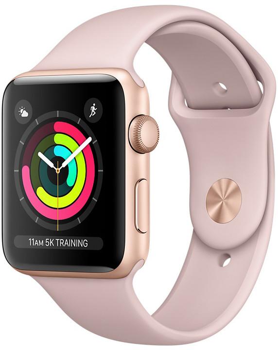 Apple Watch series 3 42mm pouzdro zlatá pískově růžový řemínek ... 75ee2b8a6a