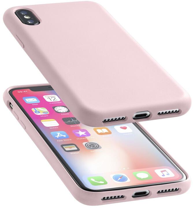 CellularLine ochranný silikonový kryt SENSATION pro iPhone X, starorůžový