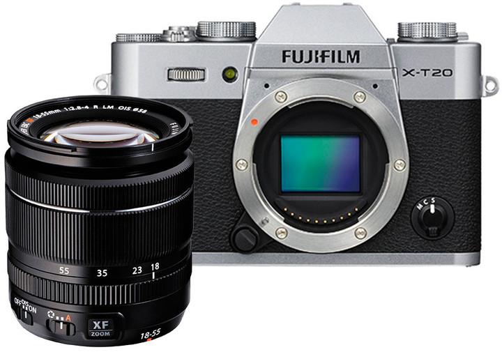 Fujifilm X-T20 + XF 18-55mm, stříbrná