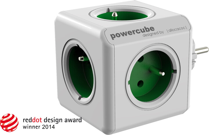 PowerCube ORIGINAL rozbočka-5ti zásuvka, zelená