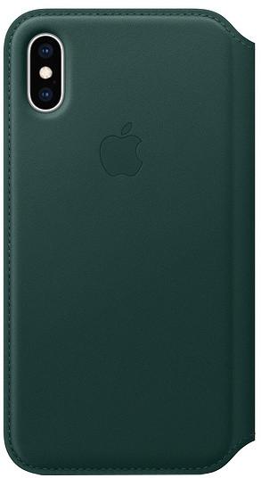 Apple kožené pouzdro Folio na iPhone XS, piniově zelená