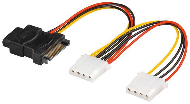 """PremiumCord napájecí Y kabel k HDD Serial ATA na 3x 5,25"""" 20cm"""