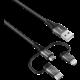 Trust synchonizační a nabíjecí kabel Keyla 3v1, extra silný, 3A, 1m, černá