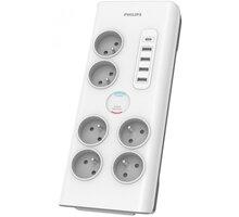 Philips přepěťová ochrana, 6x zásuvka, 1x USB-C, 4x USB-A, 2m, šedá - Phil-SPN7060WA/60