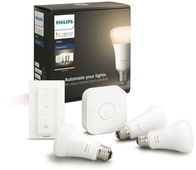 Philips žárovka Hue E27, LED, 9W, 3ks + bridge + switch - 2. generace s BT