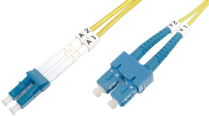 Digitus Fiber Optic Patch Cord, LC/SC Singlemode 09/125 µ, Duplex, 3m