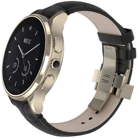 Vector SmartWatch Luna-Polished Champagne Gold/Black Padded Croco