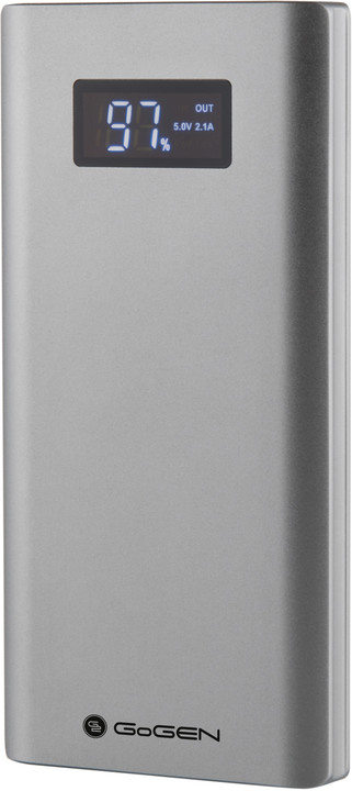 GoGEN power bank 10000 mAh PBD100005, stříbrná