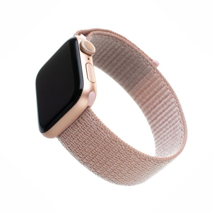 FIXED nylonový řemínek pro Apple Watch, 42/44mm, růžově zlatá