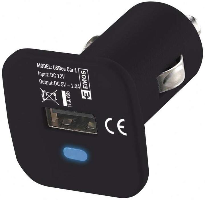 Emos napájecí zdroj USB CL 1A, do auta