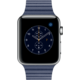 Apple Watch 2 42mm Stainless Steel Case with Midnight Blue Leather Loop - L