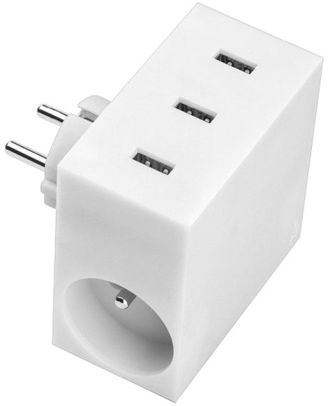 USBEPower HIDE Power Hub charger 3USB/2plugs, bílá