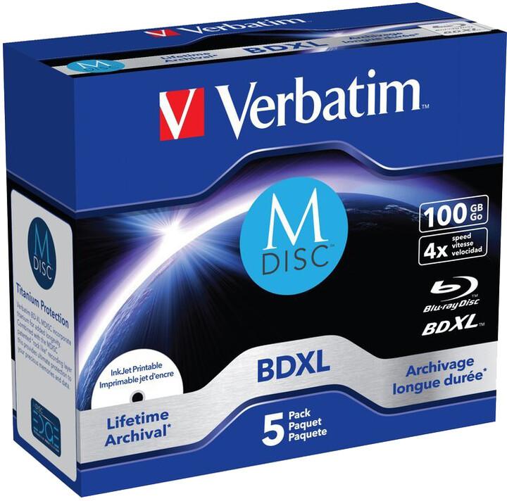 Verbatim BD-R, 4x, 100GB, jewel 5 ks