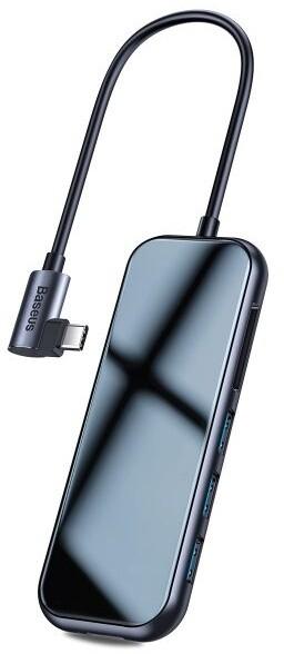 BASEUS Multi-functional HUB (Type-C to 3x USB 3.0 + HD4K + SD/TF + PD) , šedá