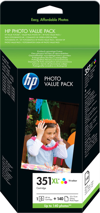 HP Q8848EE, barevná, č. 351XL + 140 ks 10x15 cm photo paper