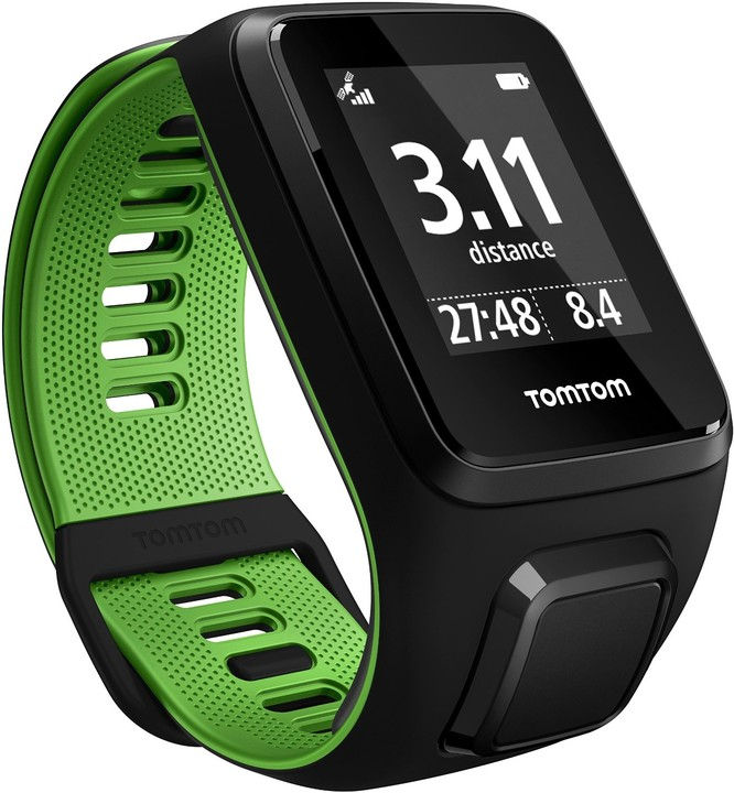TOMTOM Runner 3 Cardio + Music (S), černá/zelená + bluetooth sluchátka