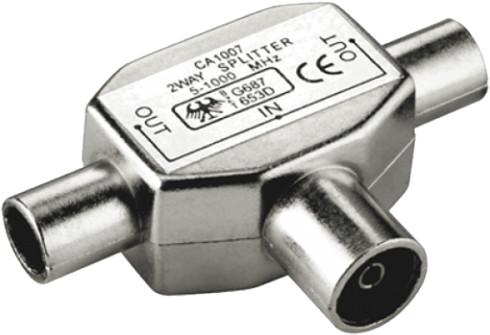 PremiumCord TV antenní slučovač-rozbočovač IEC 75 Ohm 1xF-2xM