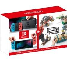 Nintendo Switch (2019), červená/modrá + Nintendo Labo Vehicle Kit - NSH073