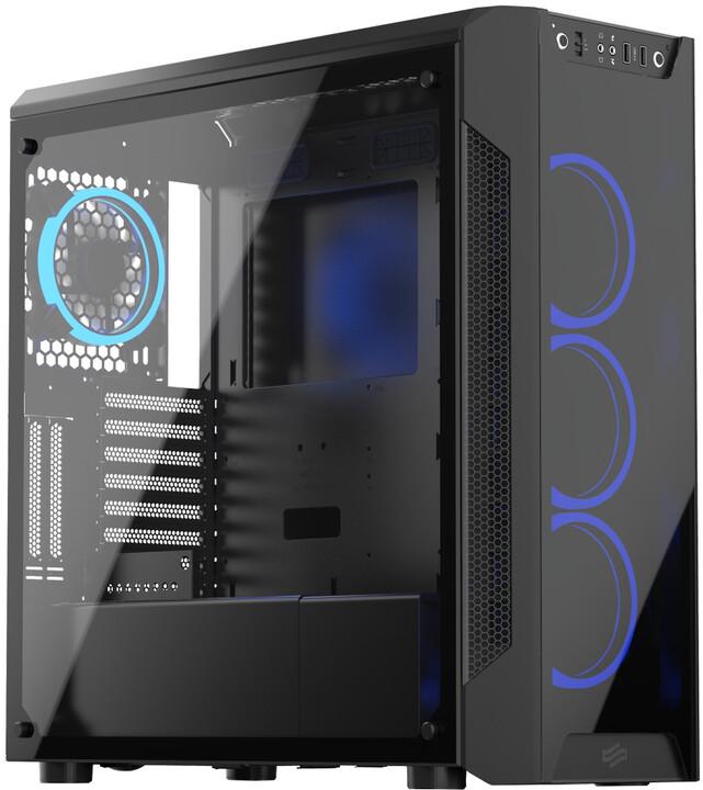 SilentiumPC Armis AR7X TG RGB Black, okno, černá