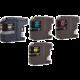 Modrá (azurová/cyan), Černá, Červená (purpurová/magenta), Žlutá