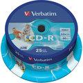 Verbatim CDR 52x 700MB Printable, Spindle, 25ks