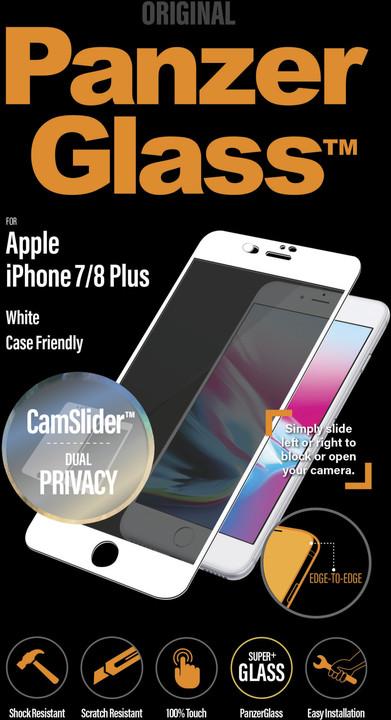 PanzerGlass Edge-to-Edge Privacy pro Apple iPhone 6/6s/7/8 Plus s CamSlider, bílá