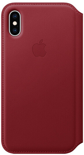 Apple kožené pouzdro Folio na iPhone XS (PRODUCT)RED, červená