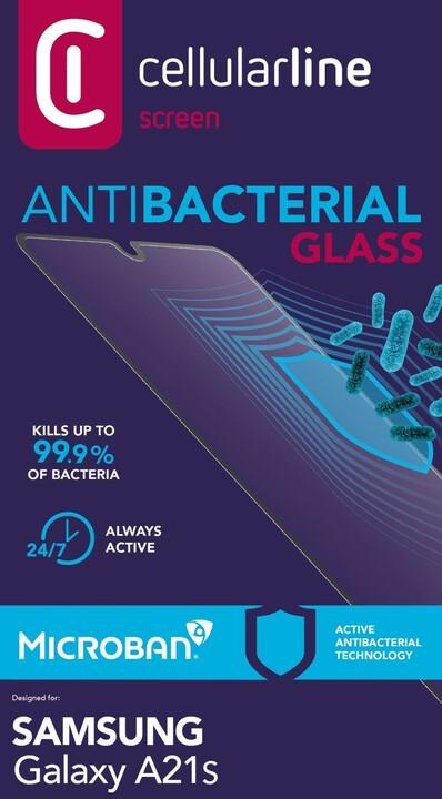 Cellularline ochranné tvrzené sklo pro Samsung Galaxy A21s, antimikrobiální, černá