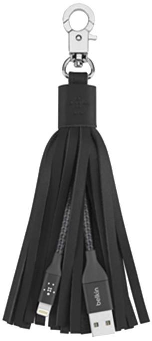 Belkin Lightning USB dobíjecí kabel v klíčence, kožený střapec - černá