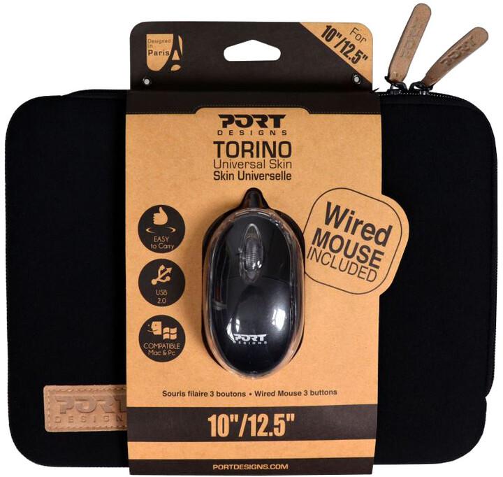 "Port Designs TORINO pouzdro na 10/12,5"" notebook + WB MOUSE, černá"
