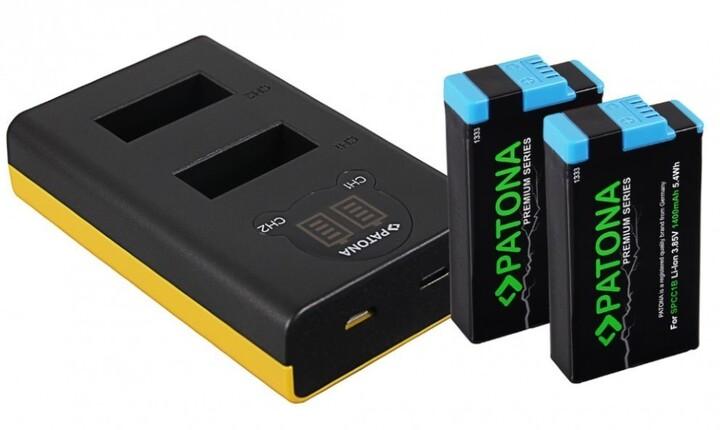 Patona nabíječka pro digitální kameru Dual GoPro MAX s LCD, +2x aku, 1400mAh, Premium