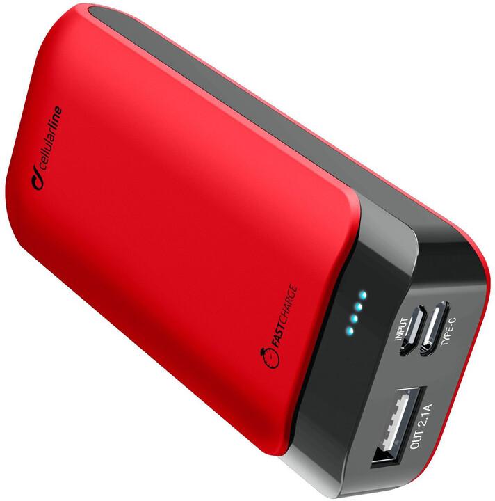 CellularLine Prémiová powerbanka PowerUp s Usb-C, 5200mAh, červená