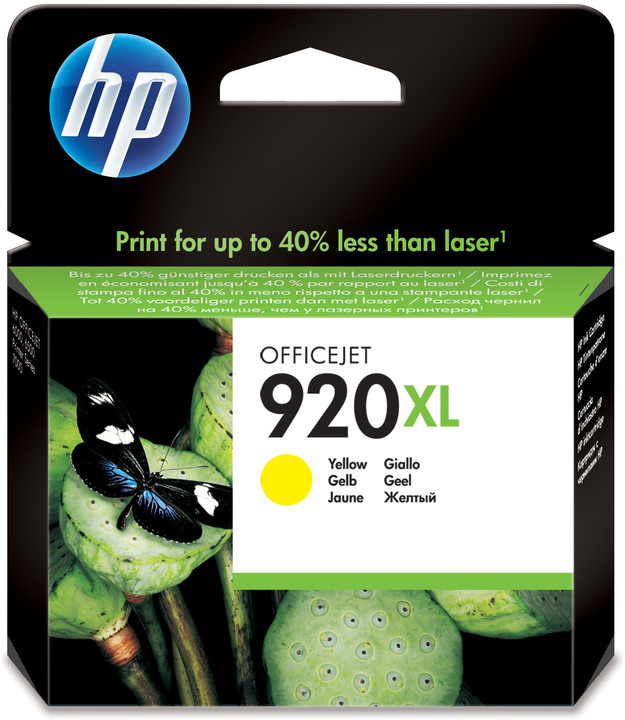 HP CD974AE, č. 920XL, žlutá – ušetřete až 50 % oproti standardní náplni