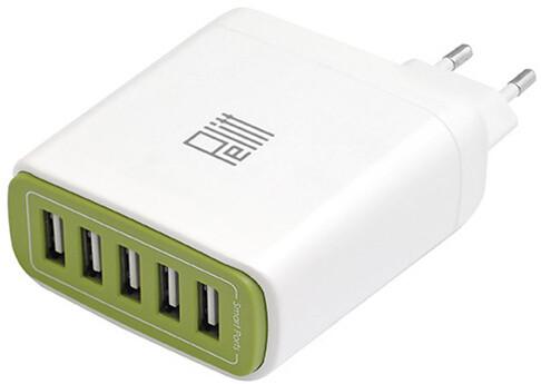 Pelitt síťová nabíjecí stanice P-604, 5x USB, bílá