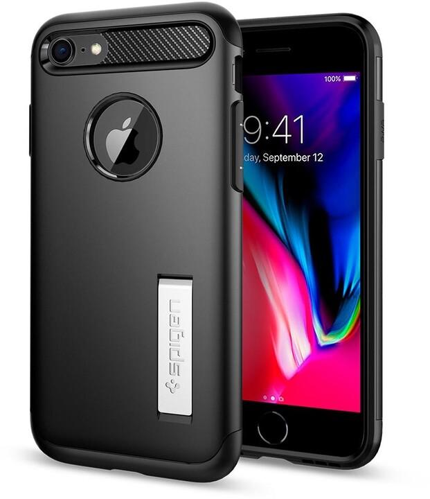 Spigen ochranný kryt Slim Armor pro iPhone 7/8, černá + ochranné sklo
