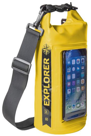"""CELLY voděodolný vak Explorer 2L s kapsou na telefon do 6,2"""", žlutý"""