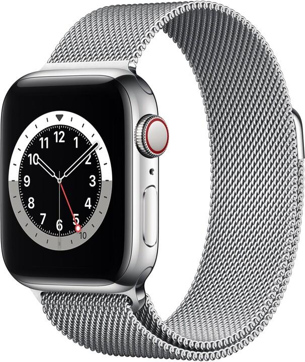 Apple Watch Series 6 Cellular, 40mm, Silver Stainless Steel, Silver Milanese Loop