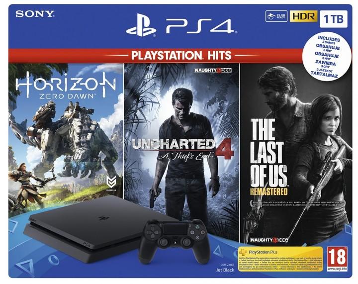 PlayStation 4 Slim, 1TB, černá + Horizon Zero Dawn + The Last of Us + Uncharted 4