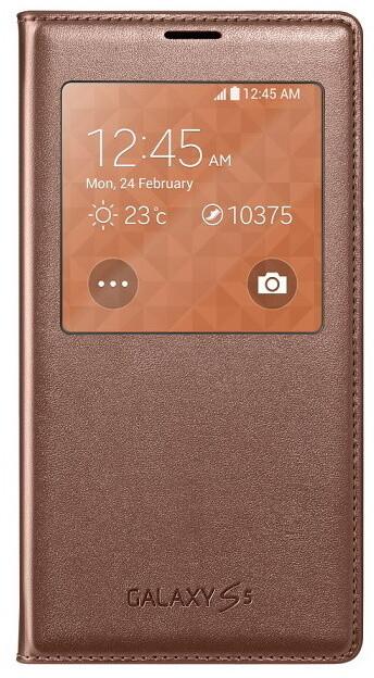 Samsung flipové pouzdro S-View EF-CG900B pro Galaxy S5, zlatá