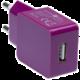 CONNECT IT nabíjecí adaptér 1xUSB port 1 A, fialová
