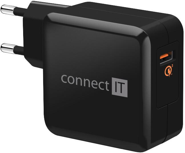 CONNECT IT QUICK CHARGE 3.0 nabíjecí adaptér 1x USB (3A), QC 3.0, černý