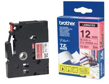 Brother TZE-B31, signální oranžová/černá, 12mm