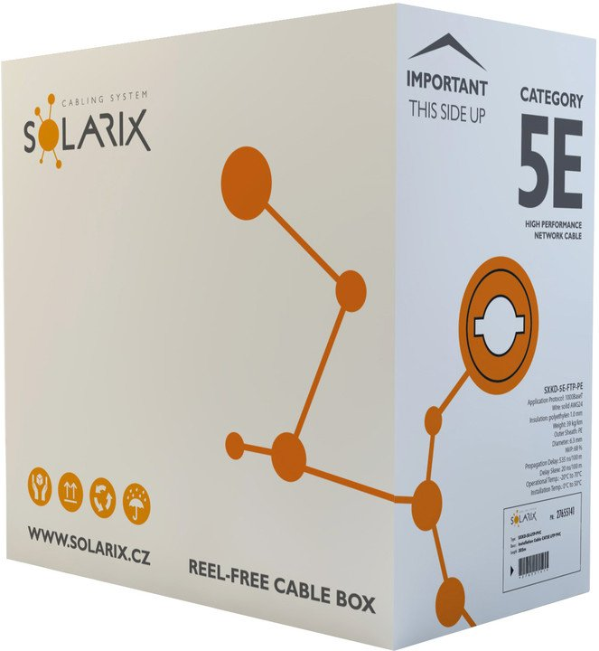 Solarix instalační kabel CAT5E FTP PE F venkovní 305m/box SXKD-5E-FTP-PE