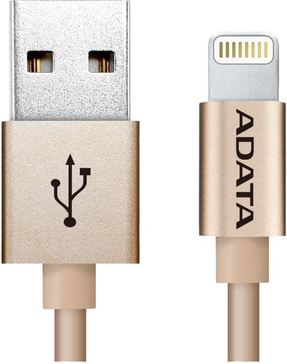 ADATA Synchronizační a napájecí kabel, USB, MFi (iPhone, iPad, iPod), 1m, zlatý