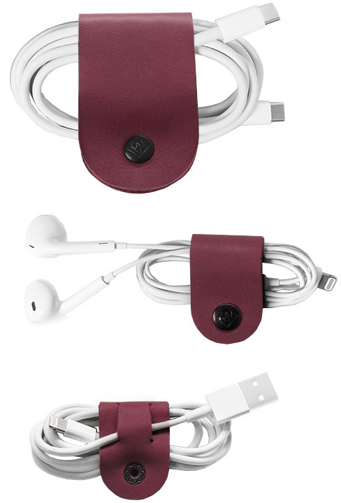 TwelveSouth CableSnap 3-Pack cable holder; leather (1x Large; 2x Small) - marsala
