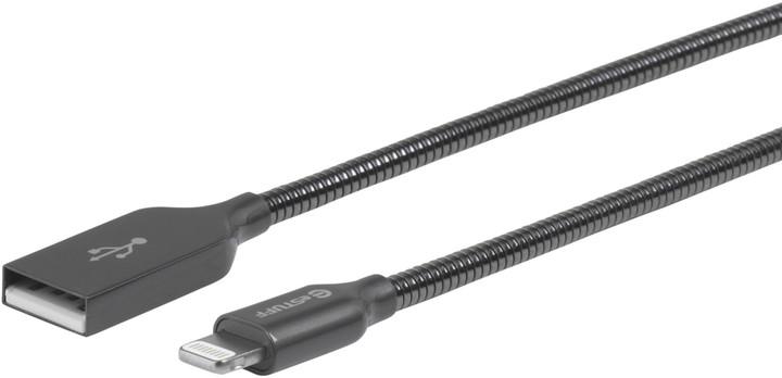 eSTUFF kovový datový kabel Lightning, MFI, 0.5m, šedá