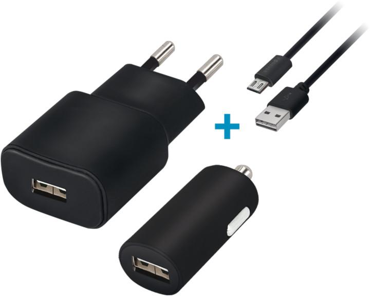 Forever cestovní dobíječ a autodobíječ USB 2A s micro USB kabelem