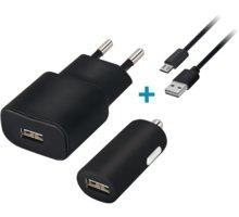 Forever cestovní dobíječ a autodobíječ USB 2A s micro USB kabelem - GSM033140