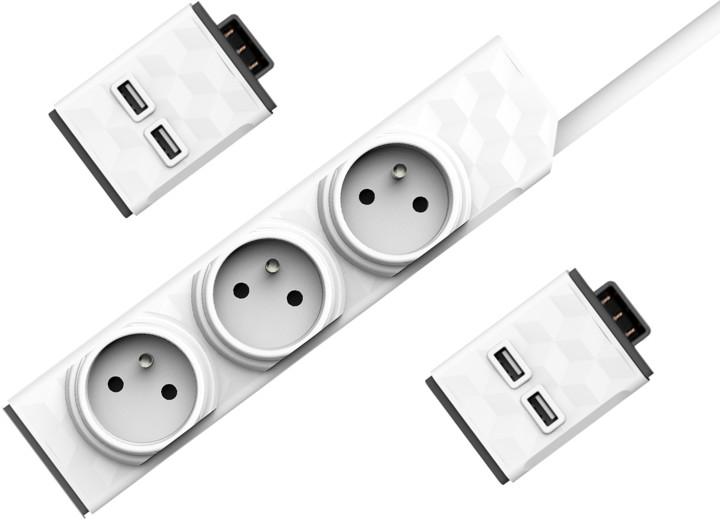 PowerStrip 3m + 2x USB modul