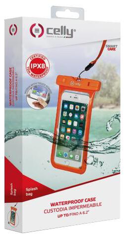 """CELLY Splash Bag univerzální voděodolné pouzdro pro telefony 6,2"""", oranžová"""